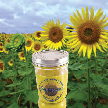 Yellow Sunflower Floral Soy Wax Candle (No Phthalates, Vegan, Hand Poured, Mason Jar) 10 oz. Handcrafted Garden Flower Spring Scented Candle