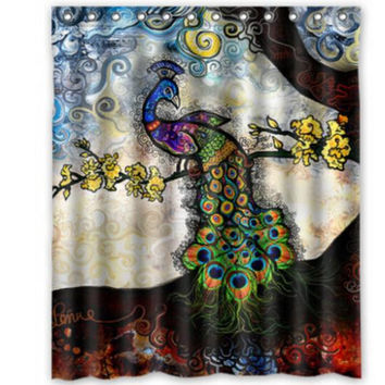 "66"" x 72"" Evening Peacock Shower Curtain"