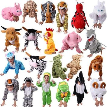1Pc Cartoon Children Kids Animal Costume Cosplay Clothing Rabbit Dinosaur Halloween Animals Costumes Jumpsuit for Boy Girl