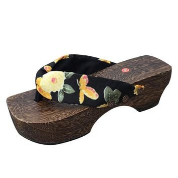 Summer Women Shoes Retro Japanese Geta Fashion Wooden Flip Flops Home Slippers Ladies Cosplay Clogs Shoes Platform Slippers