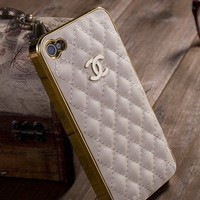 New Luxury Designer White Synthetic Sheep Leather  iPhone 4/