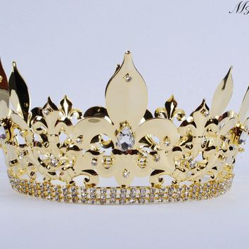 For Men Full Round Crown Imperial Medieval Large Tiara Diadem Clear Crystals Rhinestones Headband Pageant Party Costumes