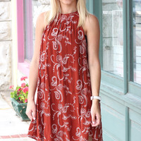 Paisley Embroidery High Neck Dress {Brick}