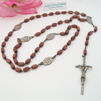Vintage Papal Cross  Wood Rosary From Italy Rome Basilicas Medals  Crucifix Sacred Heart and Our lady