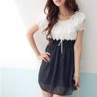 Sweet Round Collar Colorblock Chiffon Dress