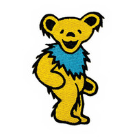 Grateful Dead Iron-On Patch Dancing Bear Yellow