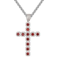 Iced Out Red Solitaire Religious Cross Pendant Chain