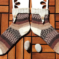 Handknit socks size EU 41-43, US 9-12, handknit in browns and white with button, holiday gift for him or her, wool socks, boot socks