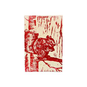 Block Print Greeting Card - Squirrel - Handmade in Kenya