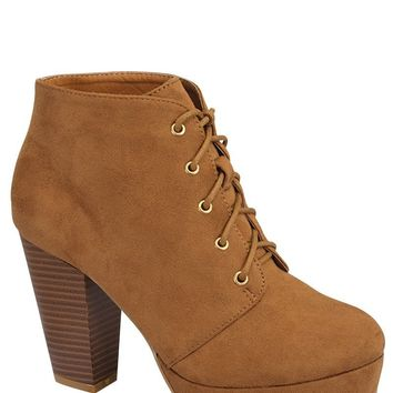 Ladies fashion ankle boot, closed almond toe, block heel, with tie straps