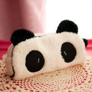 Cute kawaii 3D plush panda pencil case large capacity school supplies noverty item for kids multifunctional 0017