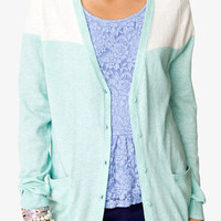 Linen-Blend Colorblocked Cardigan | FOREVER 21 - 2039346535