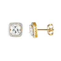 Sterling Silver 14k Gold Finish Iced Out Square Solitaire Prong Designer Earrings