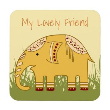 Golden Elephant on Grass Hard Plastic Coasters
