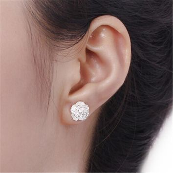 Womens Flowe Stud Earrings +Gift Box