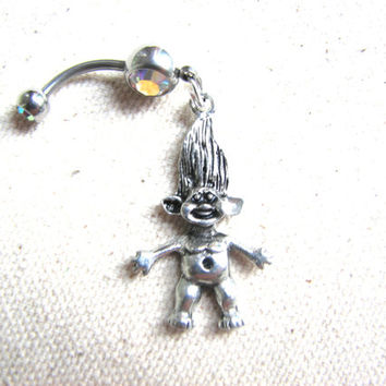 Silver Troll Belly Button Ring - Troll Doll Belly Ring Dangle, Navel Belly Piercing Belly Button Jewelry, Bellybutton Ring