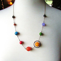 Planets Necklace Solar System the Nine Planets on Antique Brass Chain
