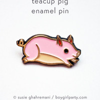 Pig Gifts Teacup Pig Pin Pig Pin Pig Jewelry Pig Brooch Pin Pink Pig Cute Enamel Pin