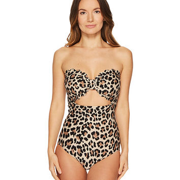 Kate Spade New York Crystal Cove #70 Scalloped Cut Out Bandeau One-Piece w/ Removable Soft Cups & Strap