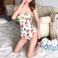 """Gucci"" Women Strawberry Fashion Letter Print Backless Crisscross Strap Sleeveless Bodysuit One Piece Swimwear Bikini Swimsuit"