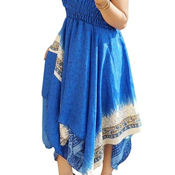 Emmaline Womens Summer Halter Dress Handkerchief Hem Recycled Sari Two Layer Resort Wear Sundress S/M (Blue 1): Amazon.ca: Clothing & Accessories