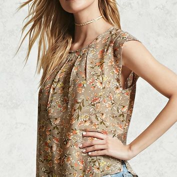 Pleated Floral Print Blouse