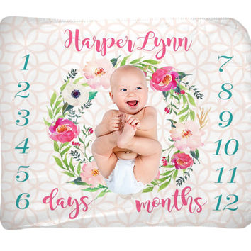 Baby Girl Milestone Blanket - Month Growth Chart - Fleece Blanket - Custom Personalized Baby Shower Gift - Watercolor Floral Newborn