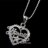 STERLING SILVER 925 HAWAIIAN HEART HAWAII PLUMERIA CHARM PENDANT