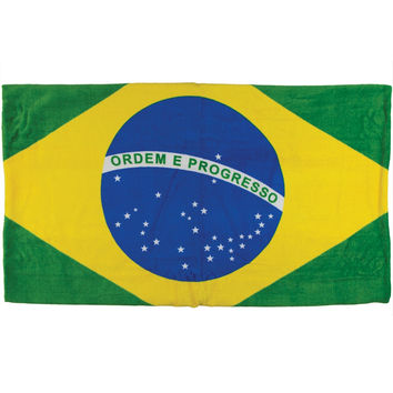 Brazil Flag Velour Beach Towel