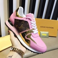 Louis Vuitton LV Fashionable Woman Casual Run Away Sneaker Shoes Pink I-ALS-XZ