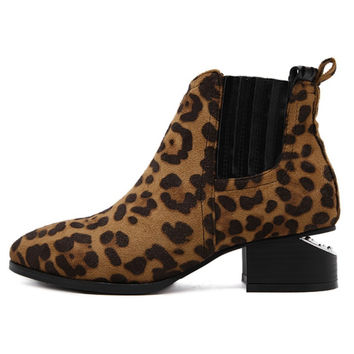 Vienna Leopard Animal Print Suede Ankle Boots