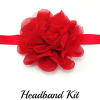 Red Lace Headband kit, DIY headband kit, Baby girl headband kit, Christmas flower headband kit, Baby shower headband making kit