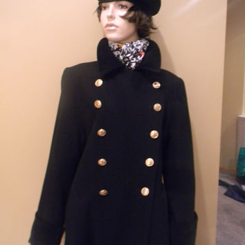 Authentic 80s Vintage CHRISTIAN DIOR Black Military style Ladies Dress Coat.Satin Lined.Velour wrist & Collar .Gold Logo CD buttons.Sz.6 .