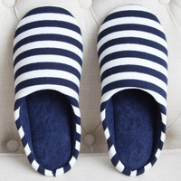 Stripe Printed Round Toe Indoors Man Slippers