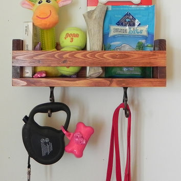 Dog Organizer, Pet Treat Holder,Dog Leash Holder, Pet Leash Holder,  Dog Shelf, Dog Treat Container, Treat Holder, Gift Idea, Pet Wall Decor