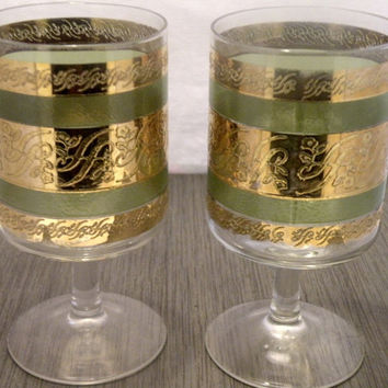 1960s Culver Starlyte Green And Gold Cocktail Glasses