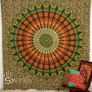Hippie Mandala Tapestry, Hippie Mandala wall hanging,Indian Boho Bohemian Bedspread Bed Cover Throw Cotton Tapestry, Twin Ethnic Decor Art