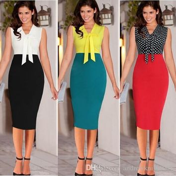 Women Summer Polka Dot Dress Patchwork Sleeveless Bodycon Pencil Party Dresses Casual Ladies Office Clothes Vestido Verao