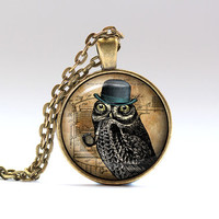 Owl jewelry Steampunk pendant Gothic necklace SNW7