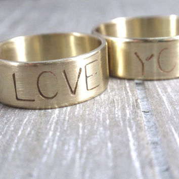 custom stamped rings golden brass wedding rings rustic wedding set personalized wedding rings 7mm wide handmade jewelry