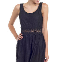 All Over Lace Crochet Inset Tank Dress
