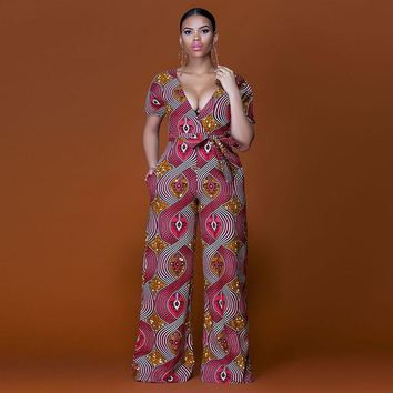 New Summer Womens Rompers Jumpsuit Women African Print Clothing Casual Sexy Low bosom Deep V neck Wide Leg Pants milk silk
