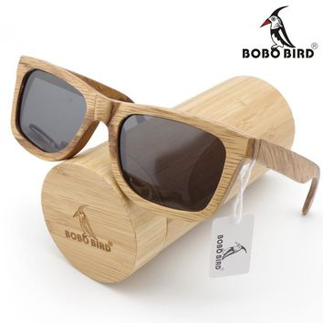 Men Sunglasses Custom Wood Bamboo Sunglasses Square Polarized In Gift Box
