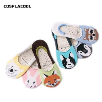 Zoo Socks Slippers Creative Novelty Cartoon Bear Rabbit Penguin Funny Meias Calcetines Fashion Harajuku Cute Invisible Sox