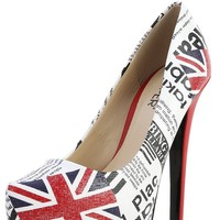 Bumper Elle-13 Red Multi Union Jack Pumps | MakeMeChic.com