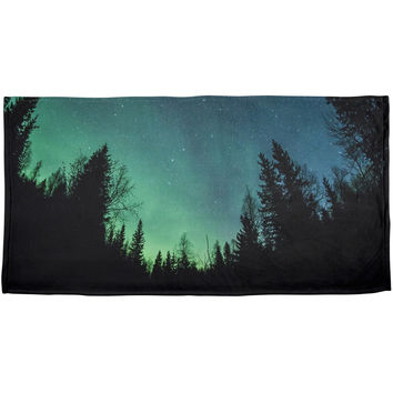 Northern Lights All Over Plush Beach Towel