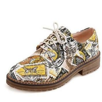 Fashion Retro Printing Leather Oxford Shoes For Women Flats Lace Up Causal Brogues Sho
