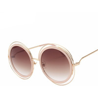 Elegant Round Wire Frame Coating Twin-Beams Vintage Fashion Sunglasses