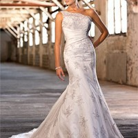 One-shoulder lace mermaid gorgeous lace-up back wedding dresses 2012 BAML0036