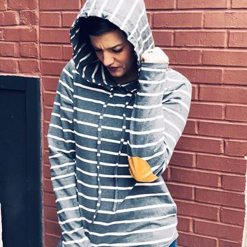 Striped Hoodie with Elbow Patches